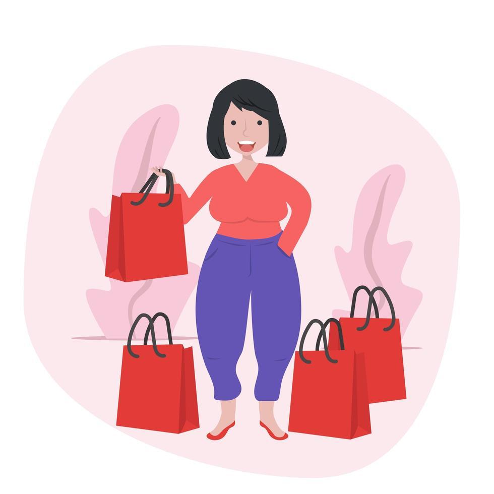 garota segurando sacolas de compras vetor