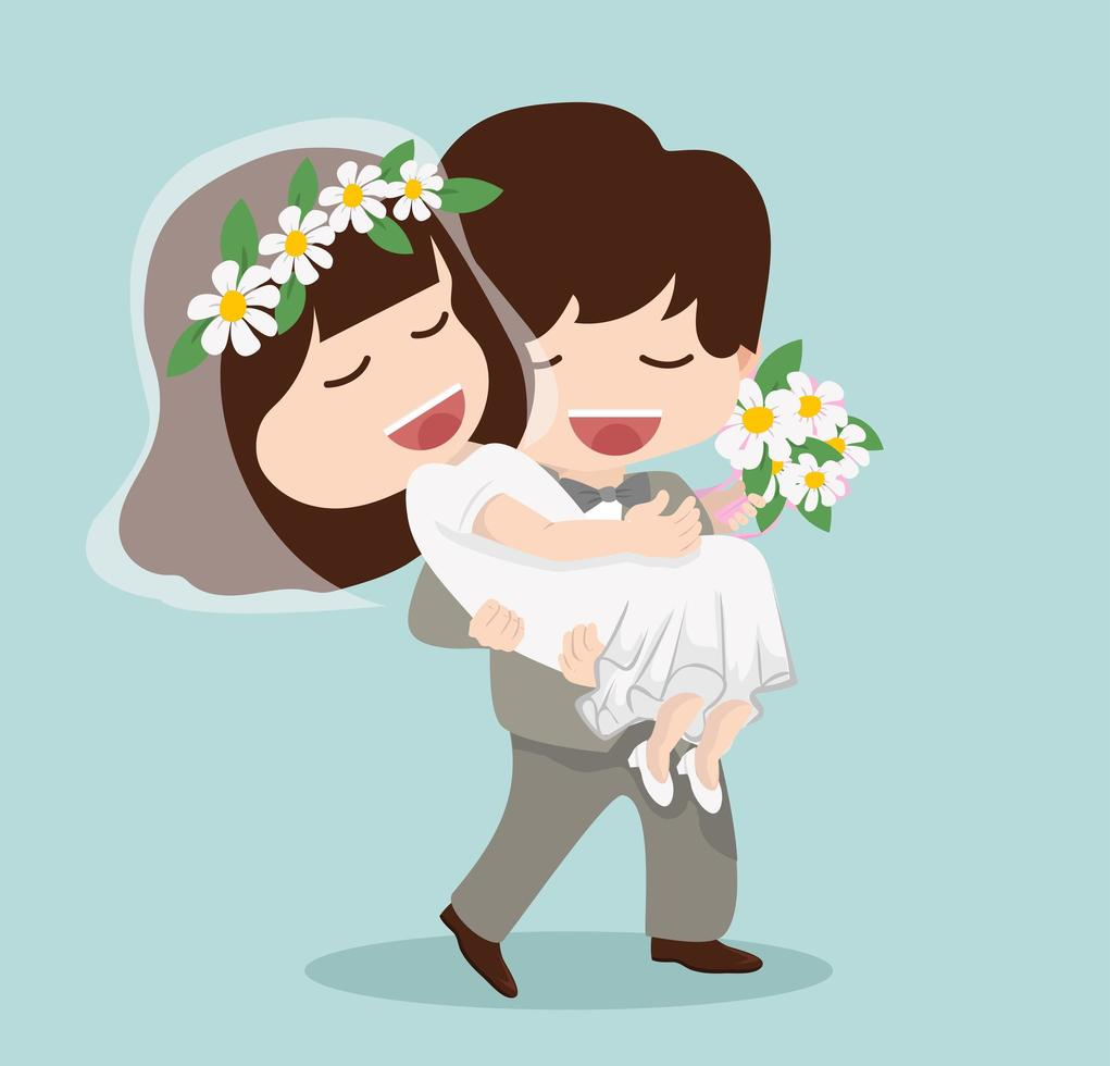 noivo segura noiva vetor