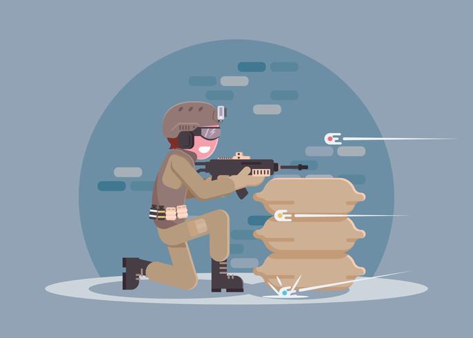 Jogador de Airsoft com ação Cam e Rifle vetor