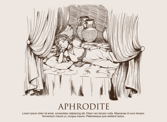 Aphrodite desenhada à mão vetor