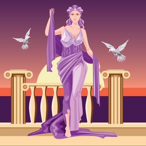 Deusa clássica grego Aphrodite em Túnica Raising Arms vetor