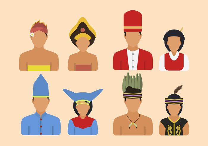 Vetores planos da tribo da Indonésia