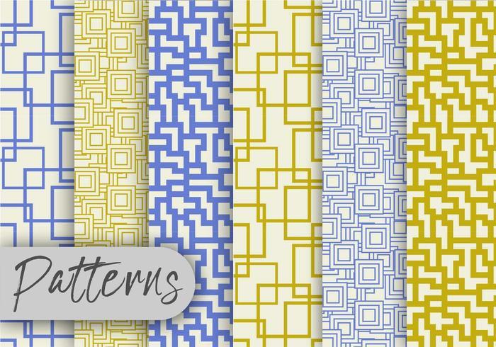 Conjunto de padrões de linha verde-oliva e azul vetor