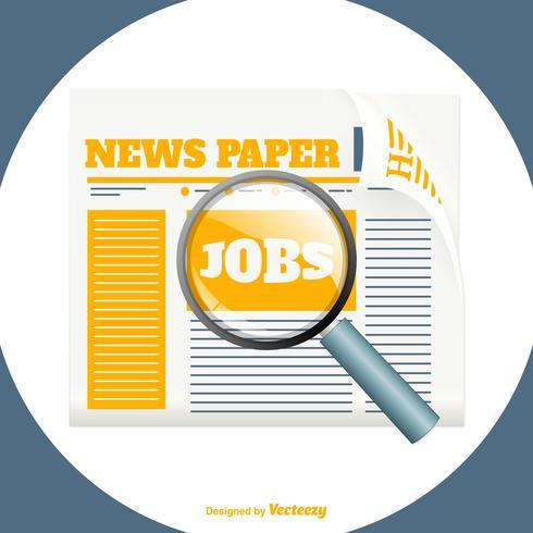 Jornal com ilustração da pesquisa de emprego vetor