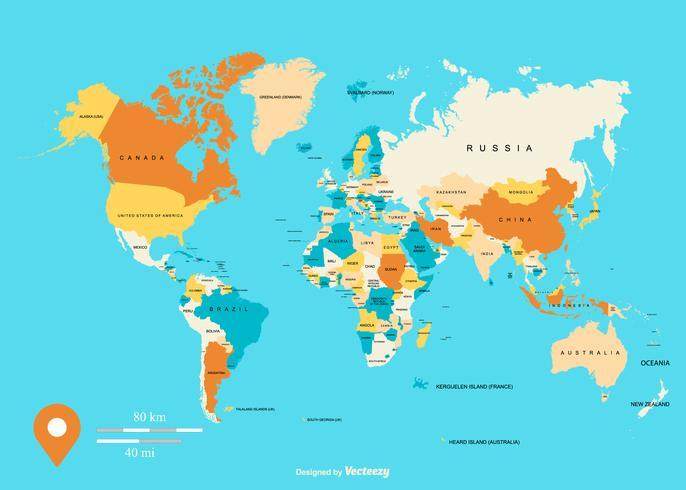 Ilustração colorida do mapa vetorial global vetor