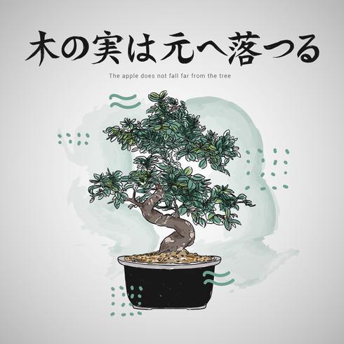 Citações de letras japonesas com ilustração vetorial de árvore de bonsai vetor
