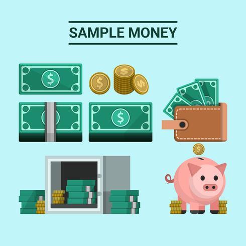 Dólar do dinheiro da amostra com ilustração vetorial Salvar vetor