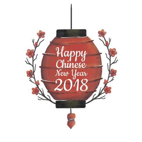 Lanterna vermelha chinesa com ramo e folhas vetor