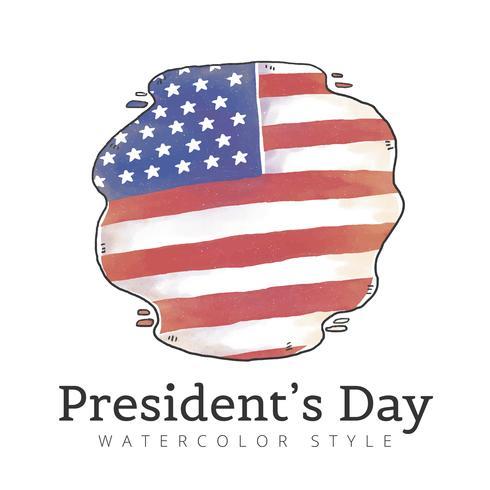 Aquarela Bandeira americana para o dia do presidente vetor
