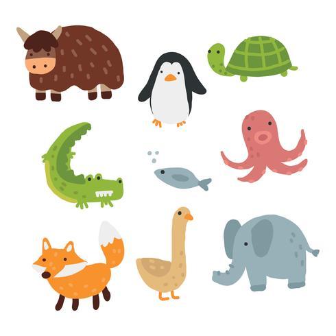 Doodles animais coloridos vetor