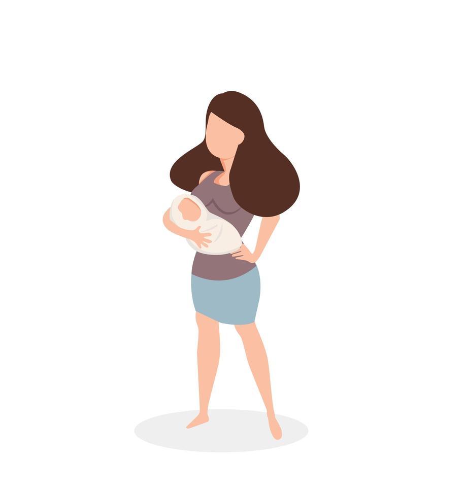 mãe segurando um bebê recém-nascido vetor