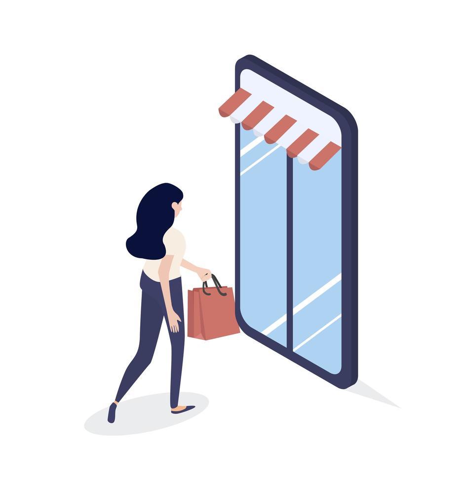 mulher indo às compras dentro de um smartphone vetor