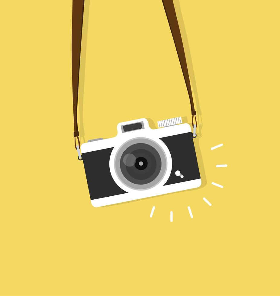 câmera fotográfica vintage com alça vetor