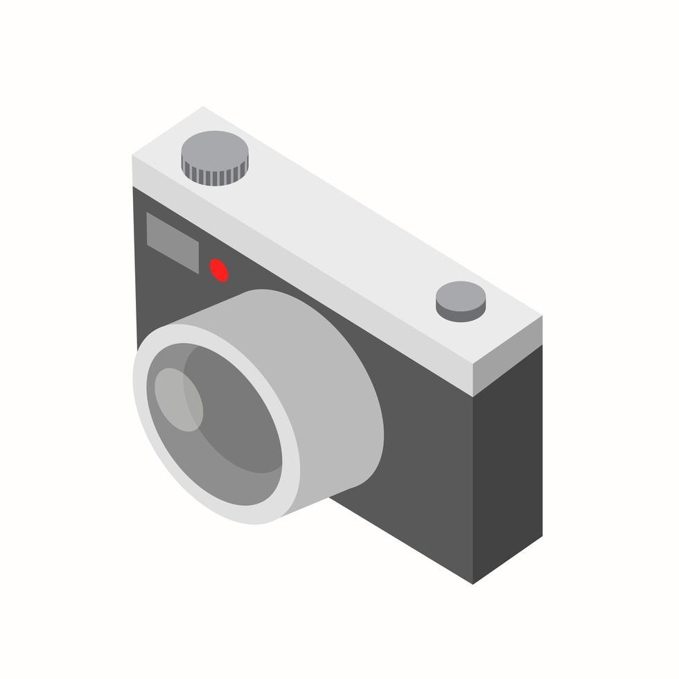 câmera retro isométrica em fundo branco vetor