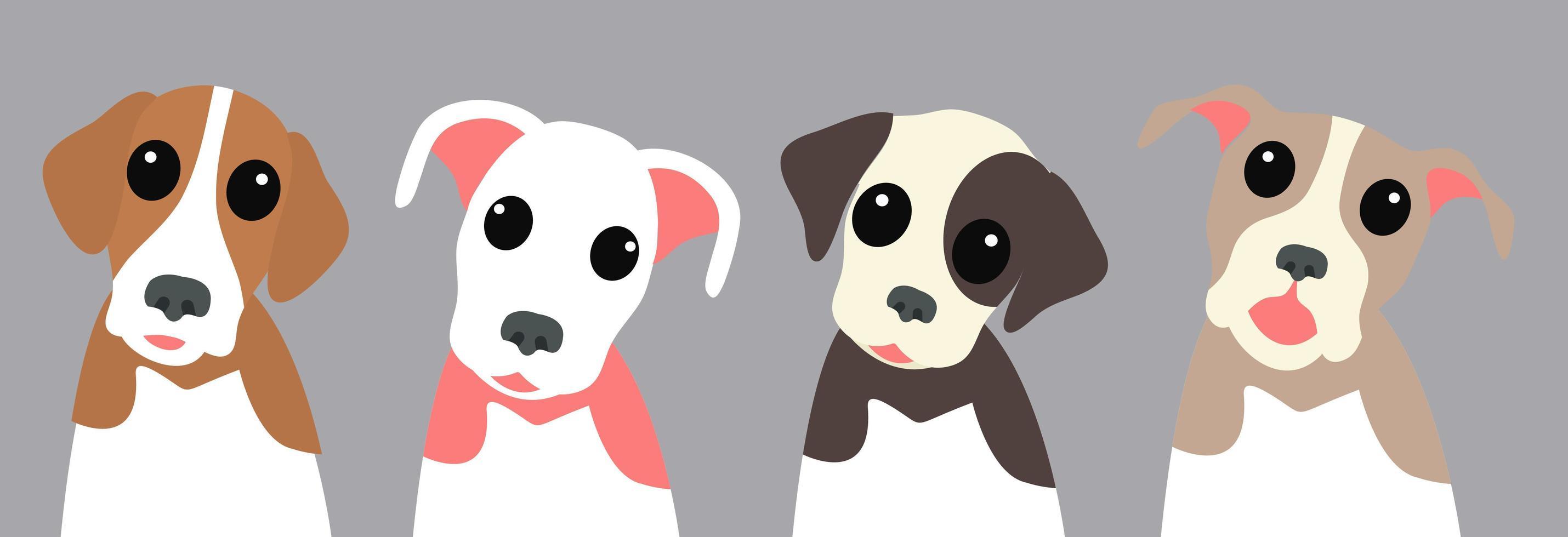 conjunto de quatro cachorros fofos inclinando a cabeça vetor