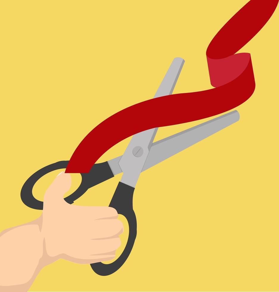 tesoura preta cortando uma fita vermelha vetor