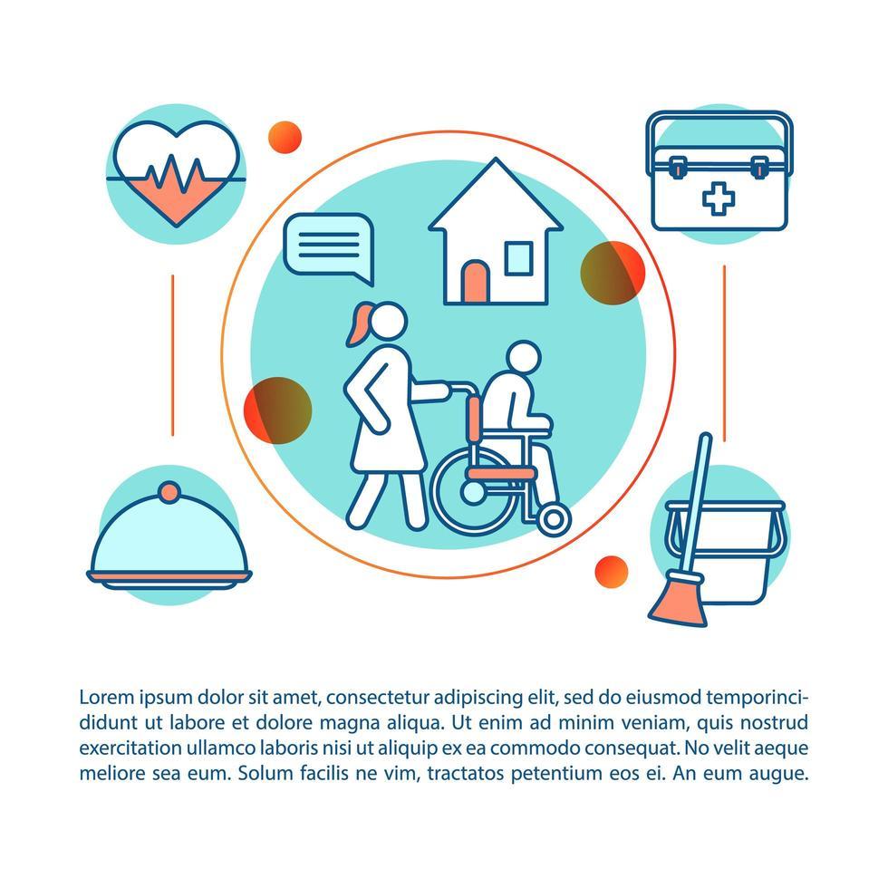 ilustração linear do conceito de serviço de enfermagem vetor