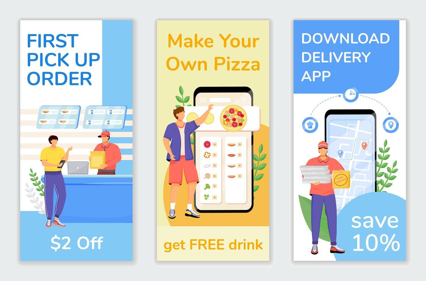 folhetos de ofertas especiais de fast food vetor