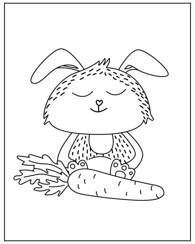 página para colorir com coelho fofo no estilo doodle vetor