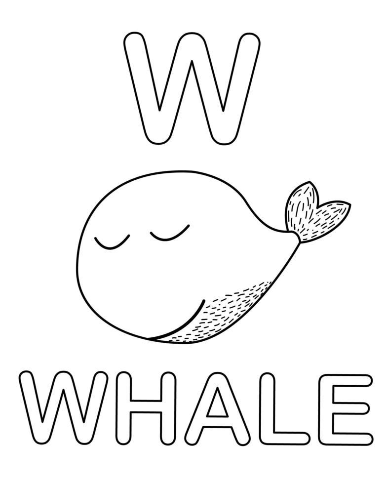 página para colorir alfabeto com animal baleia no estilo doodle vetor