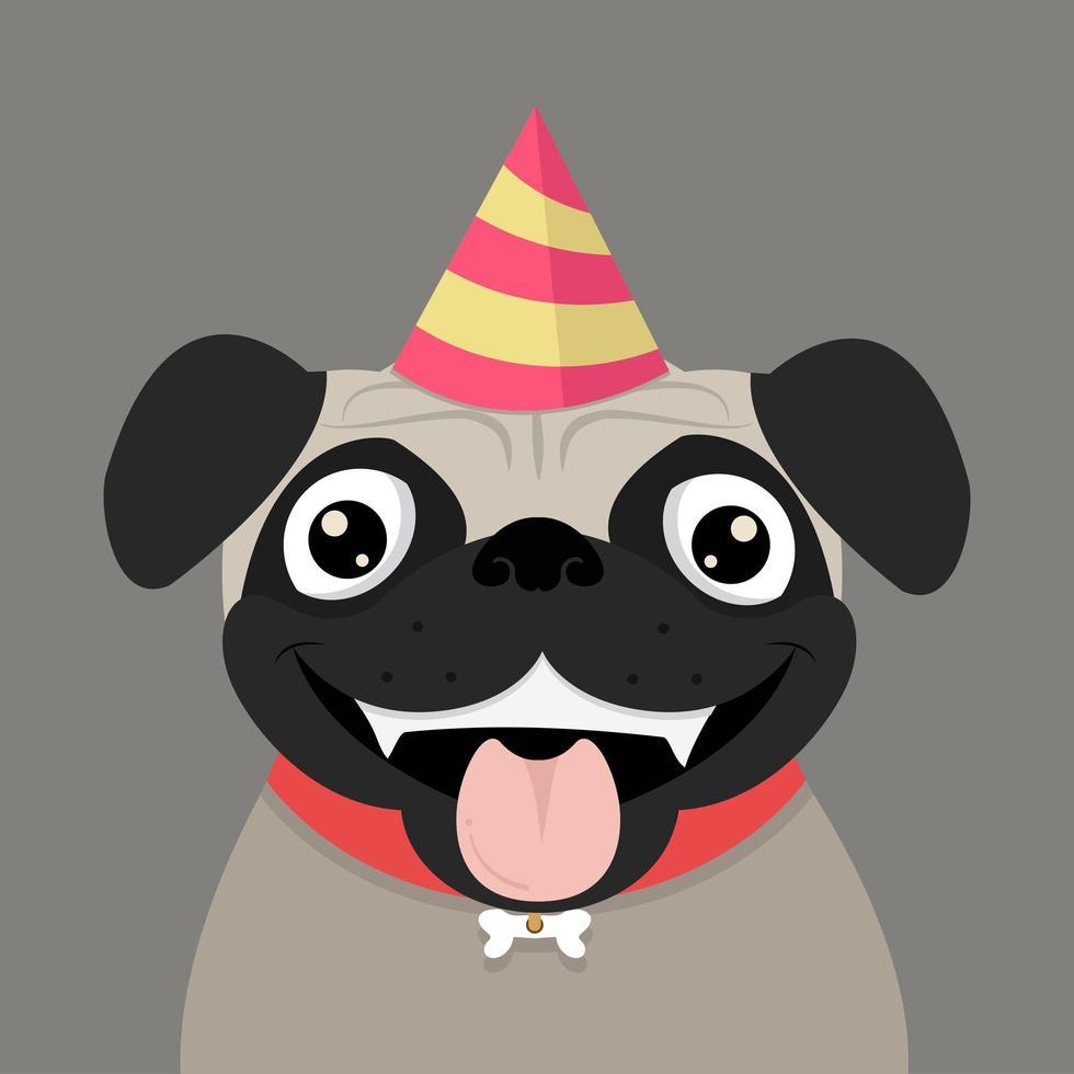 cão pug fofo com chapéu de festa vetor