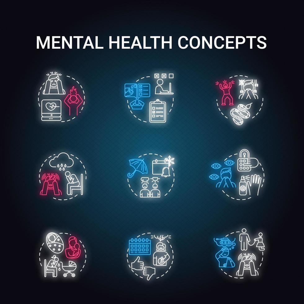 conjunto de ícones do conceito de luz de néon de saúde mental. vetor
