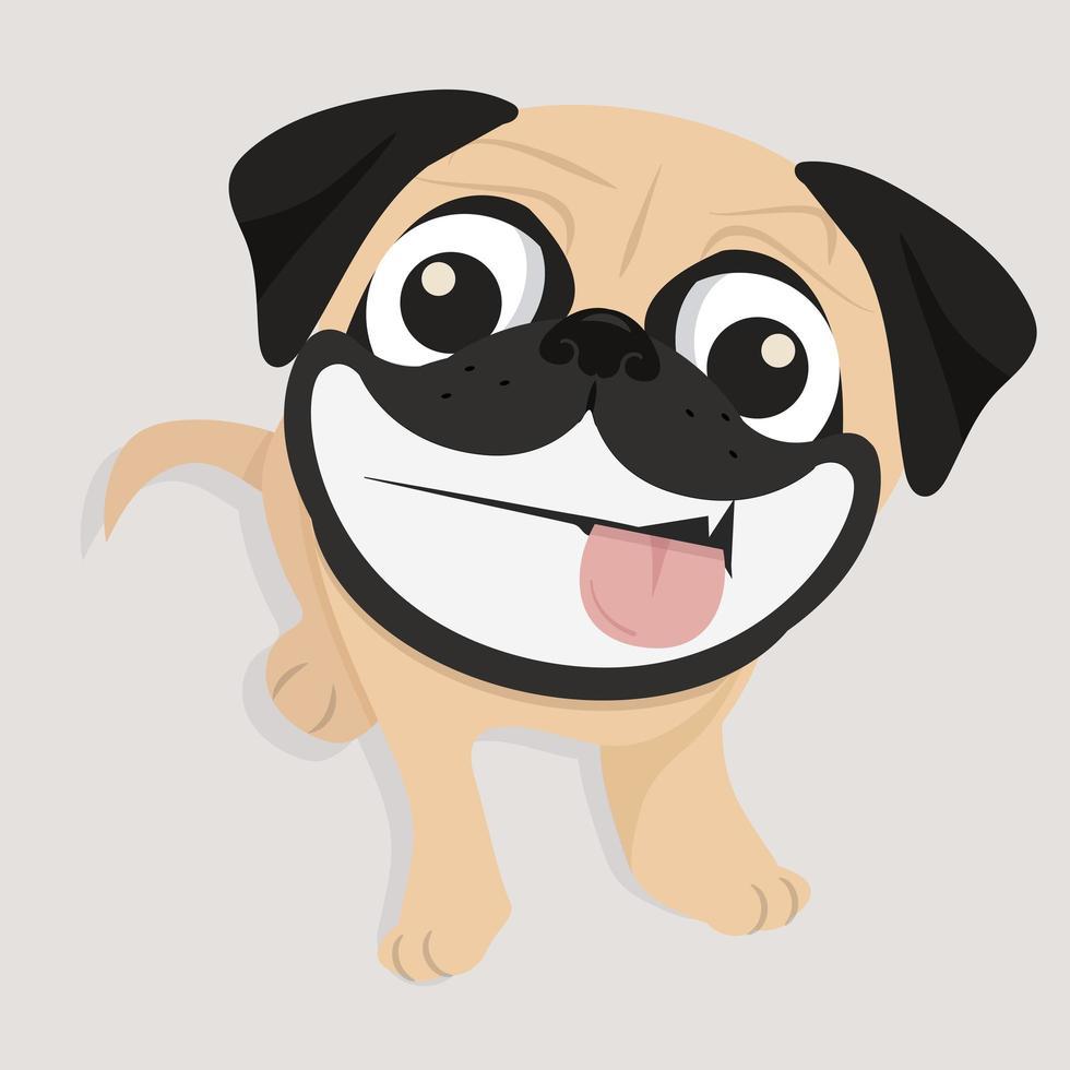 cão pug feliz com grande sorriso vetor