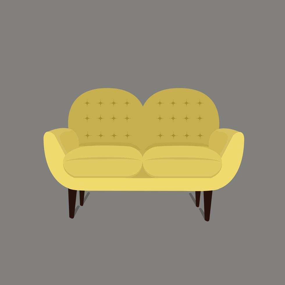 sofá moderno amarelo para sala de estar vetor