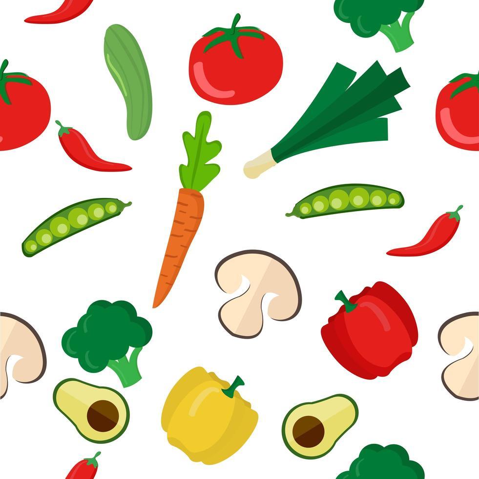 padrão sem emenda de vegetais saudáveis coloridos vetor