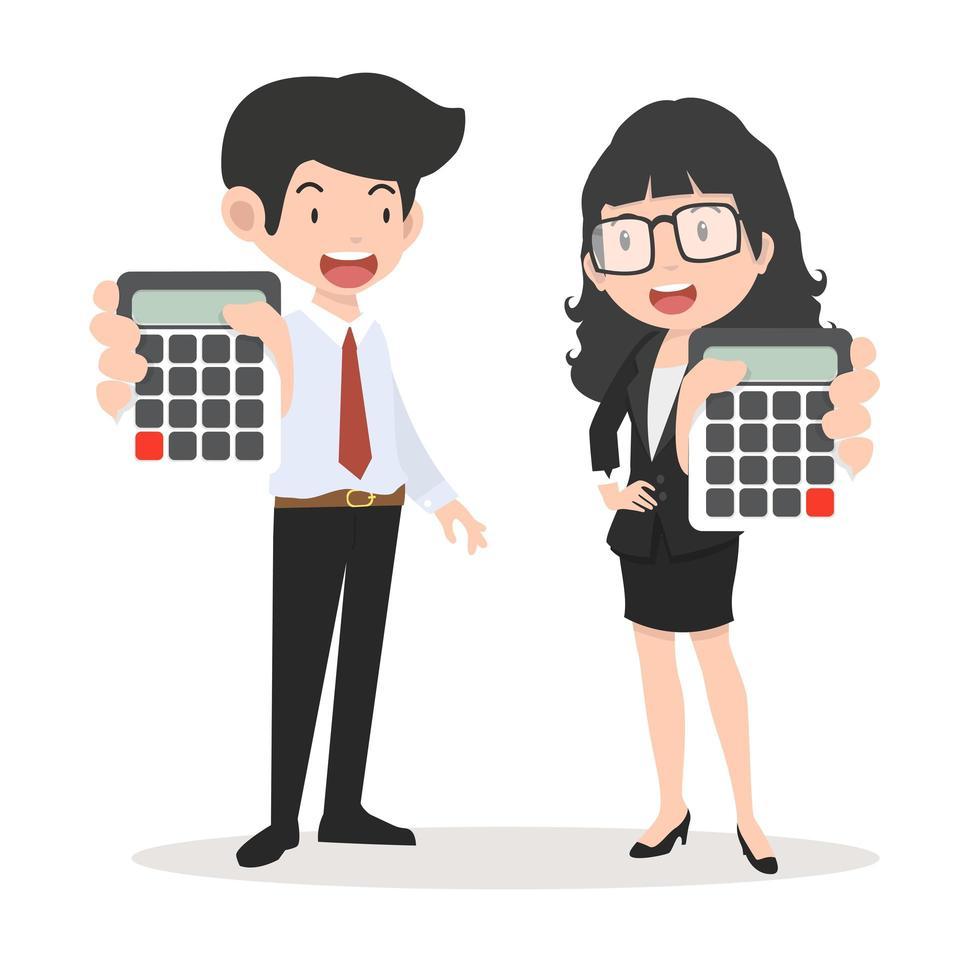 empresário e empresária segurando calculadoras vetor