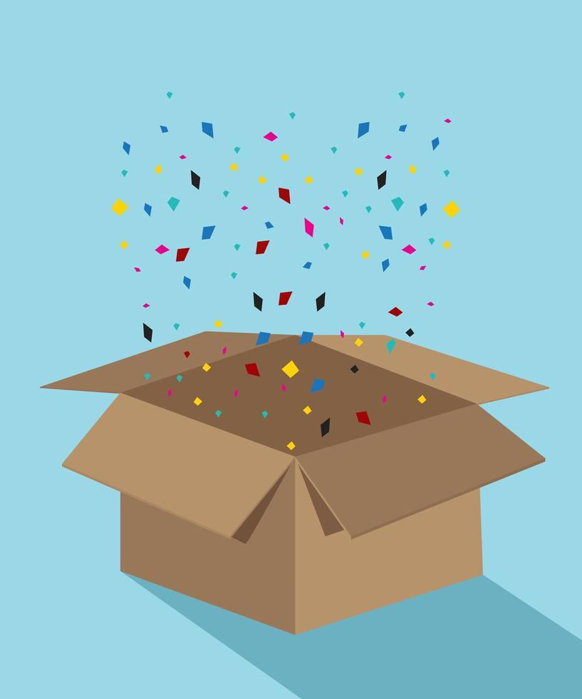 caixa de papelão explodindo com glitter colorido vetor