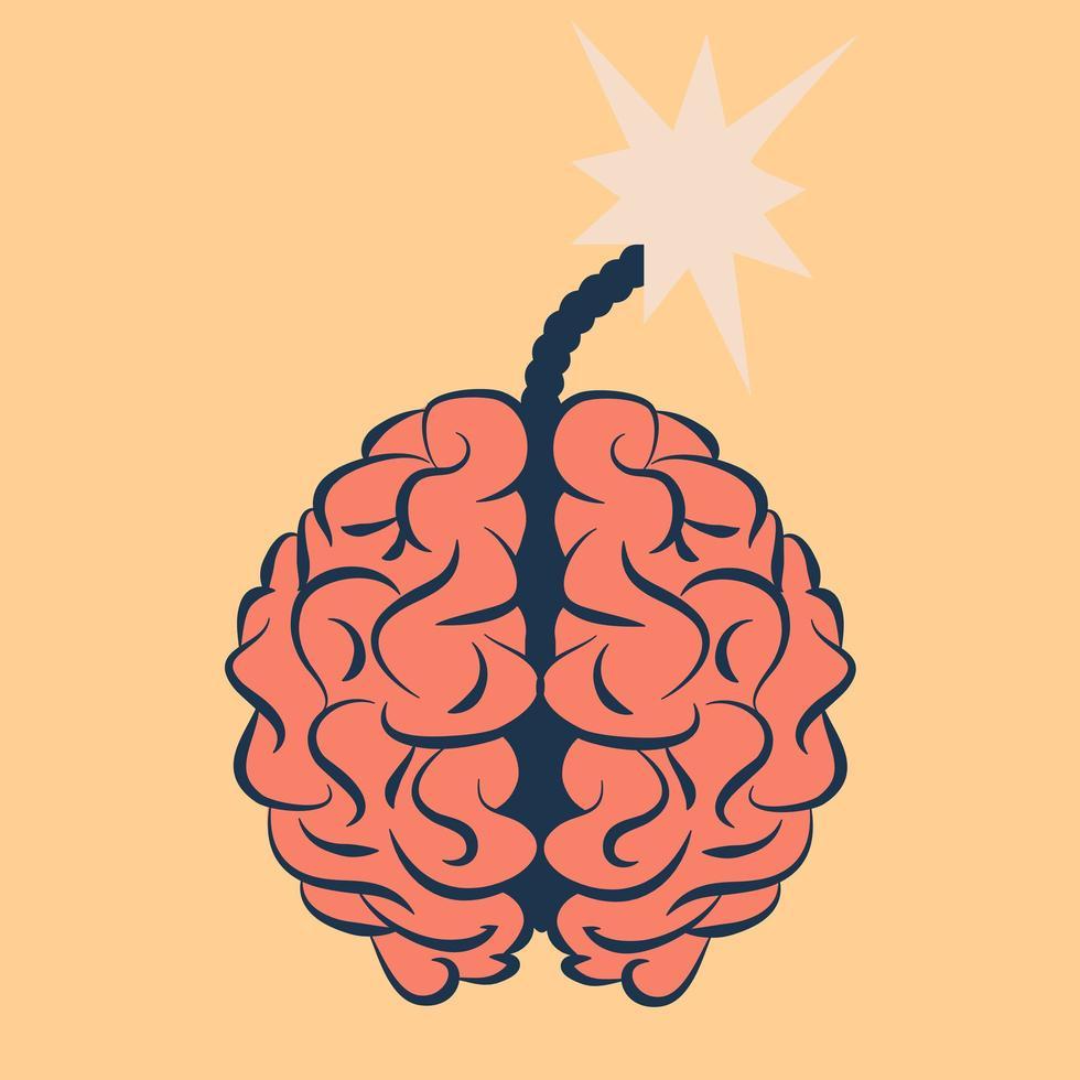 cérebro com um fusível explosivo vetor