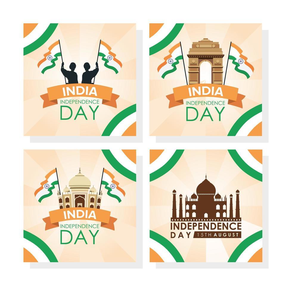conjunto de banner de celebração do feliz dia da independência da Índia vetor