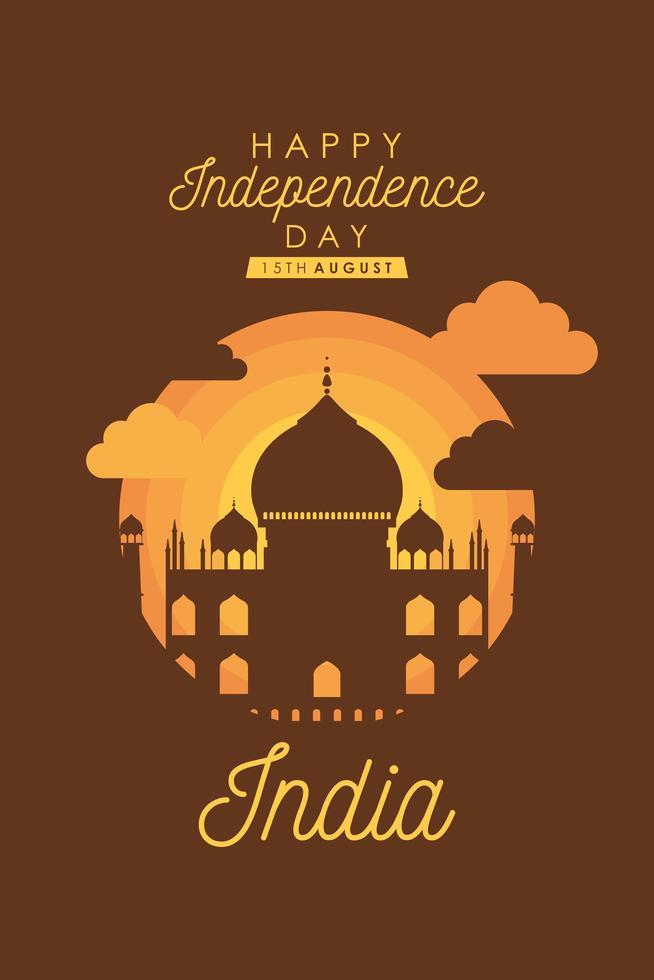 feliz pôster de celebração do dia da independência da Índia vetor