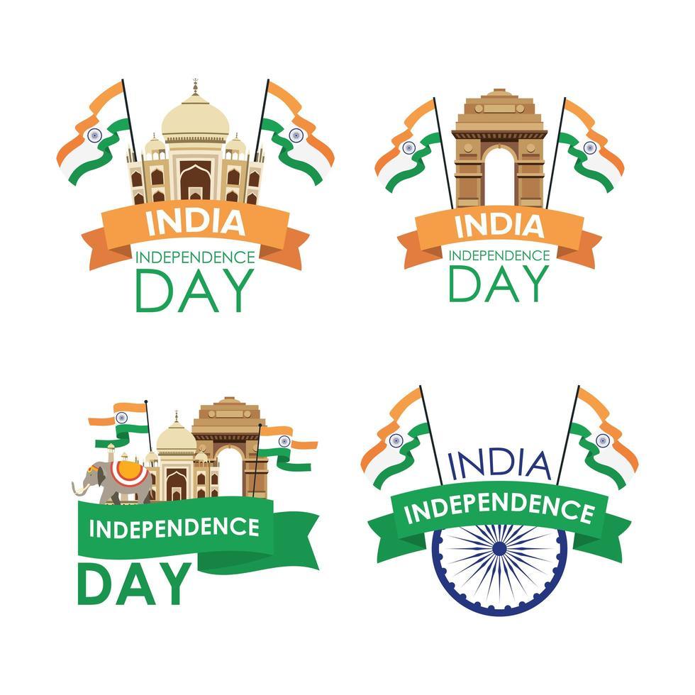 conjunto de emblema de celebração do dia da independência da índia vetor