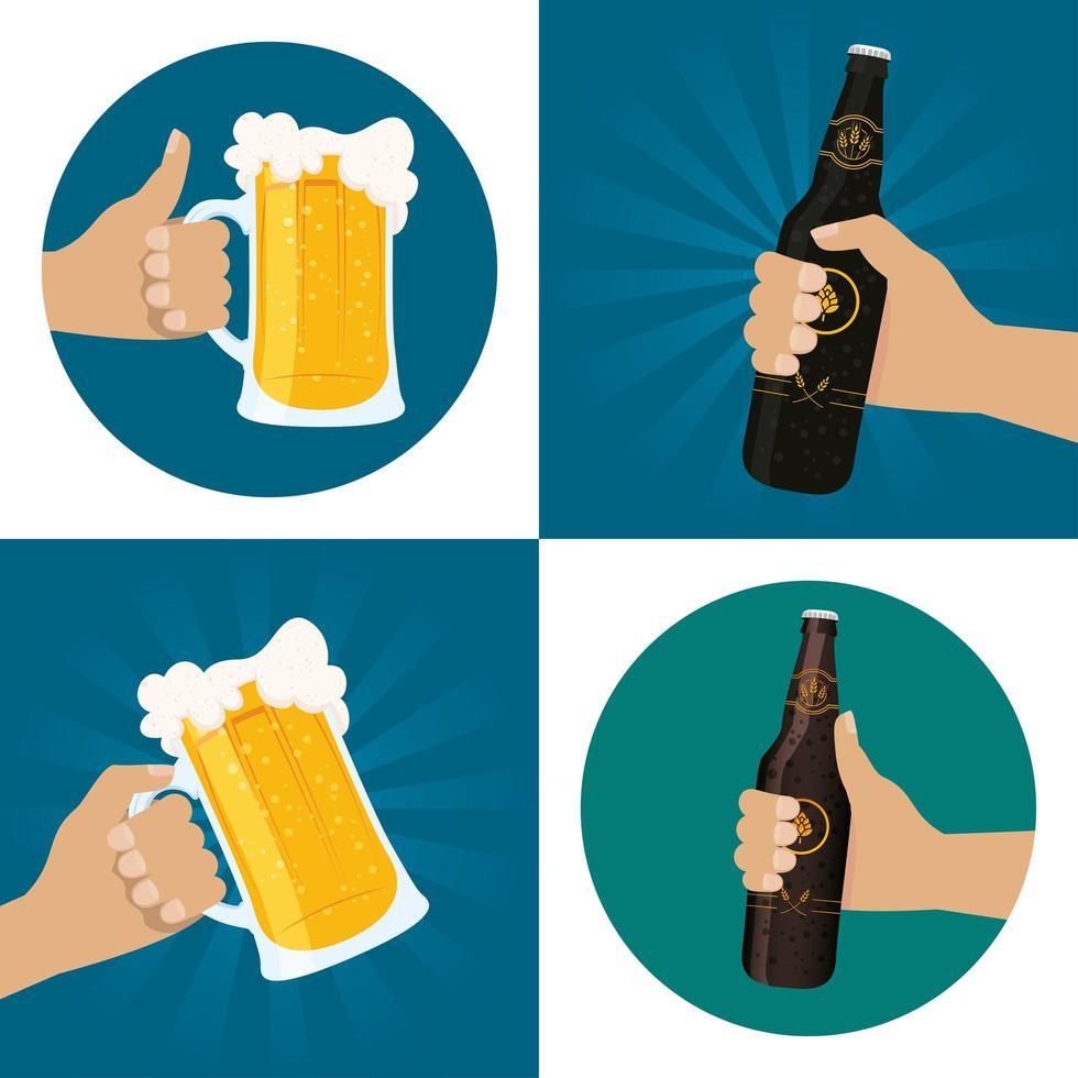conjunto de composição de celebração do dia da cerveja vetor