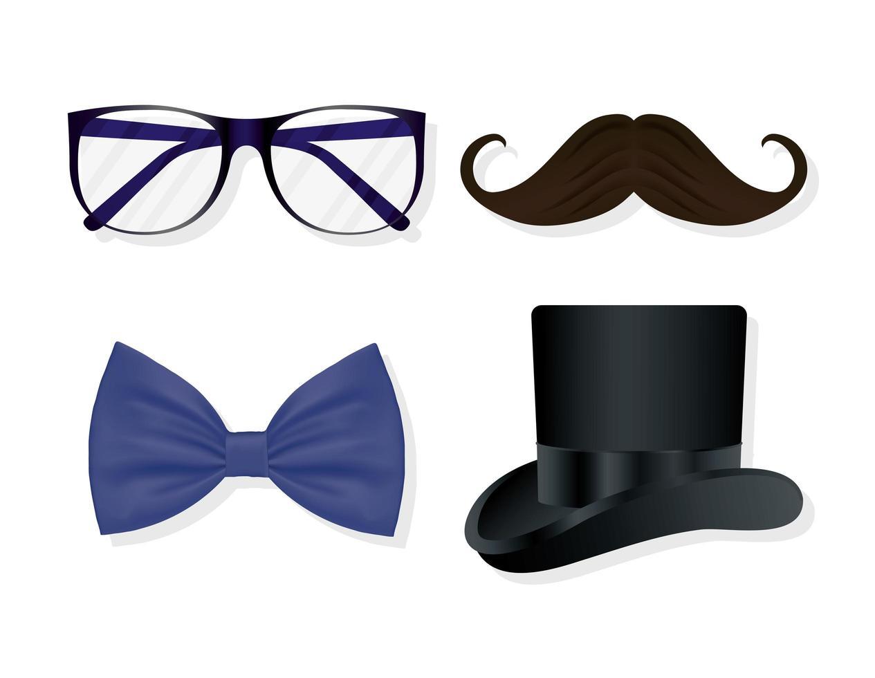 conjunto de ícones de acessórios para cavalheiros vetor