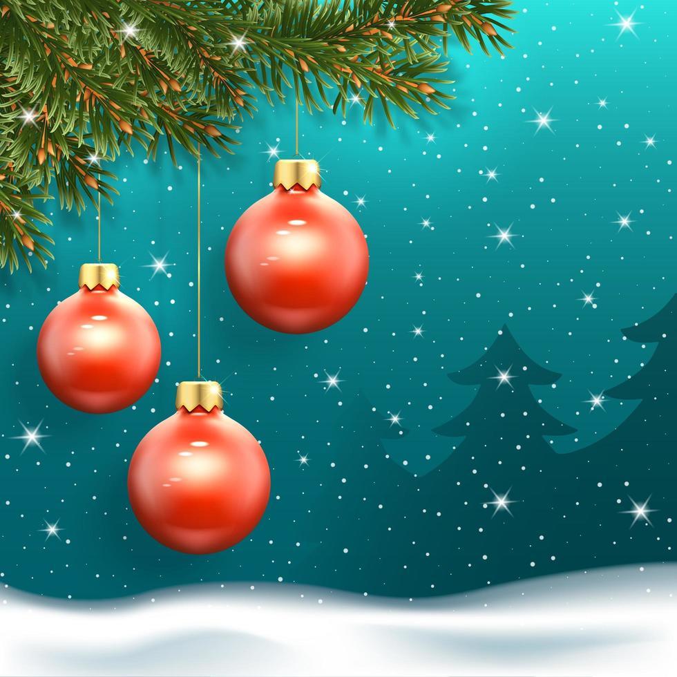 banner de ano novo com bolas de natal vetor