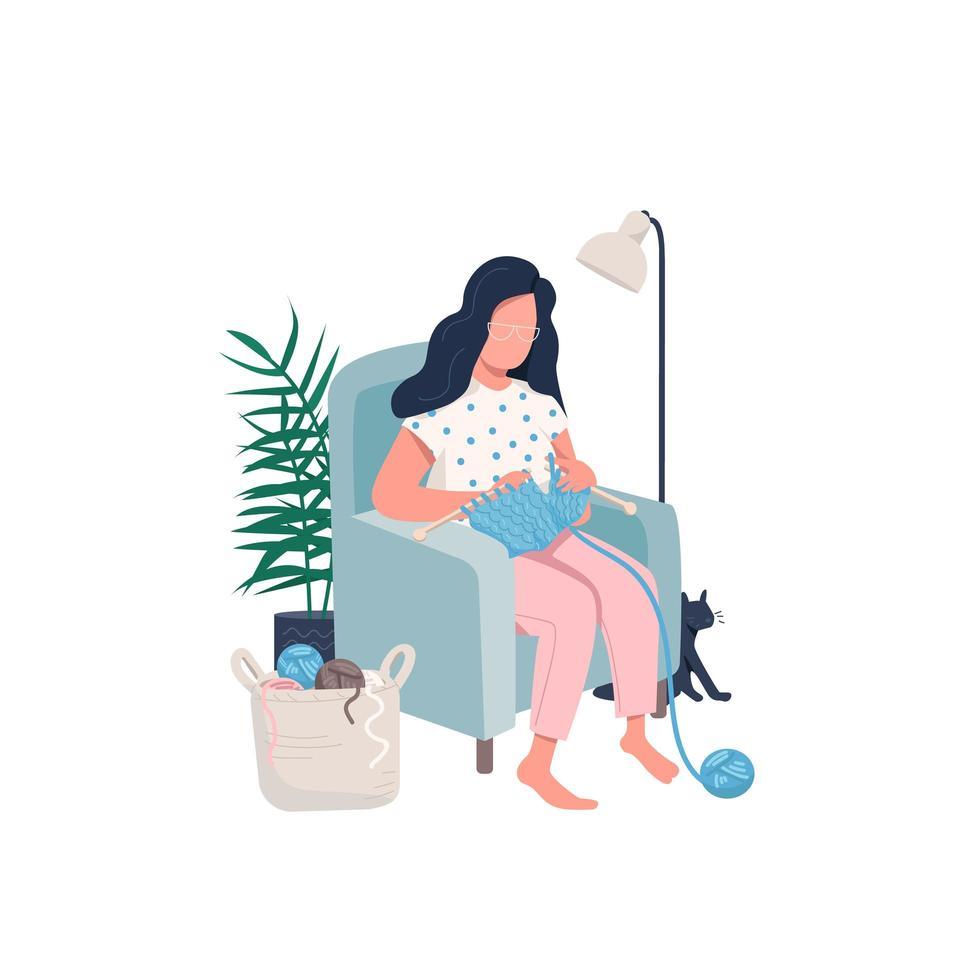 mulher de tricô na cadeira vetor