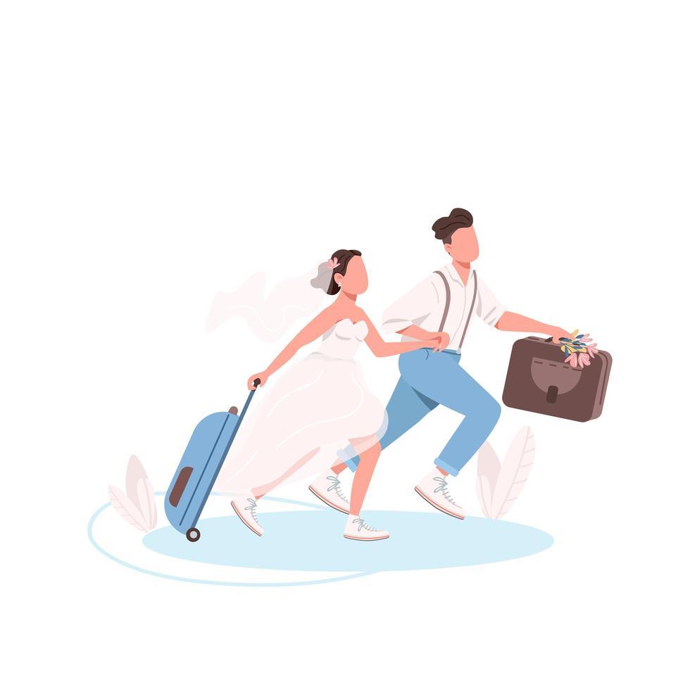 casal recém-casado com malas vetor