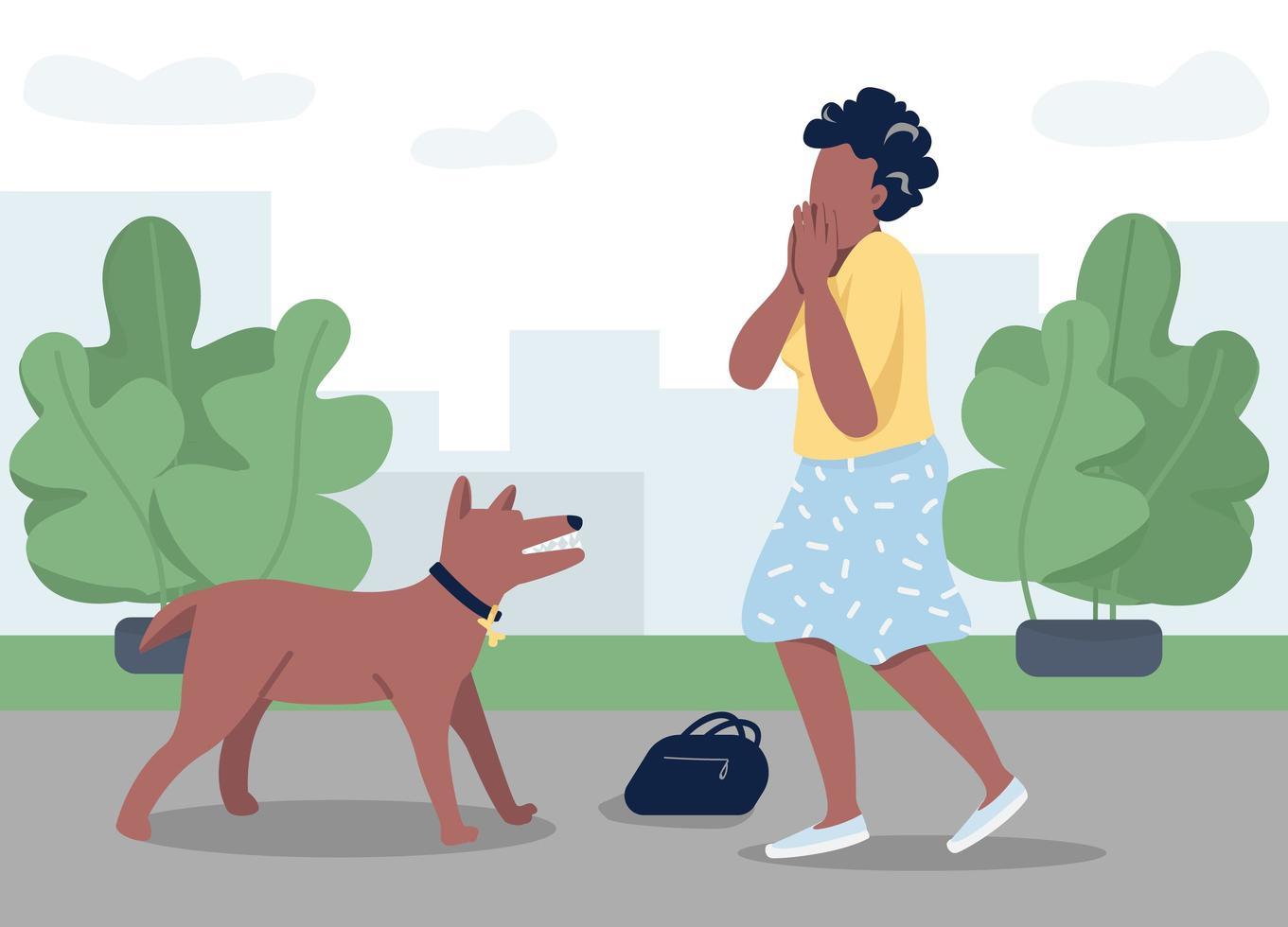 cão ataque mulher vetor