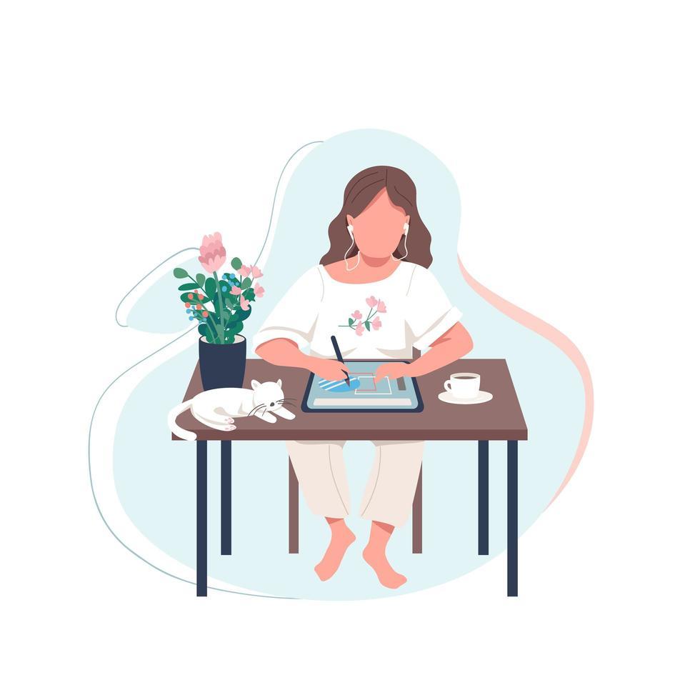 designer feminina no tablet vetor