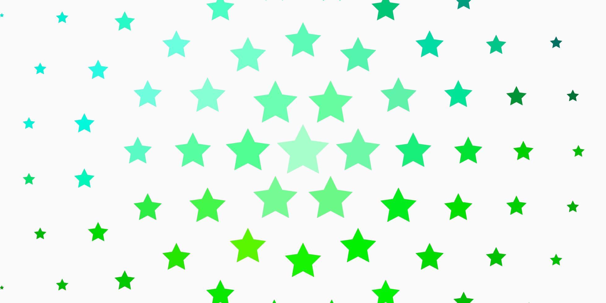 fundo verde claro com estrelas coloridas. vetor