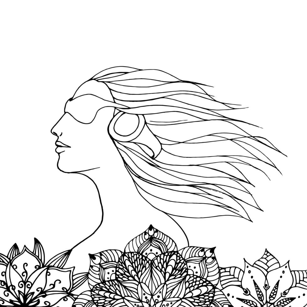 mulher ouve música em flores. vetor