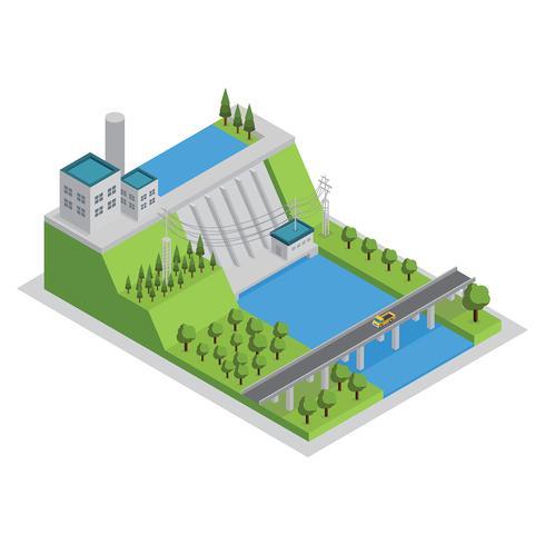Planta de energia hidroelétrica, vetor livre isométrico