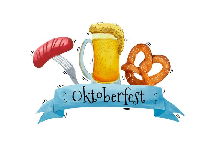 Cerveja Aquarela, Salsicha E Bretzel À Oktoberfest vetor