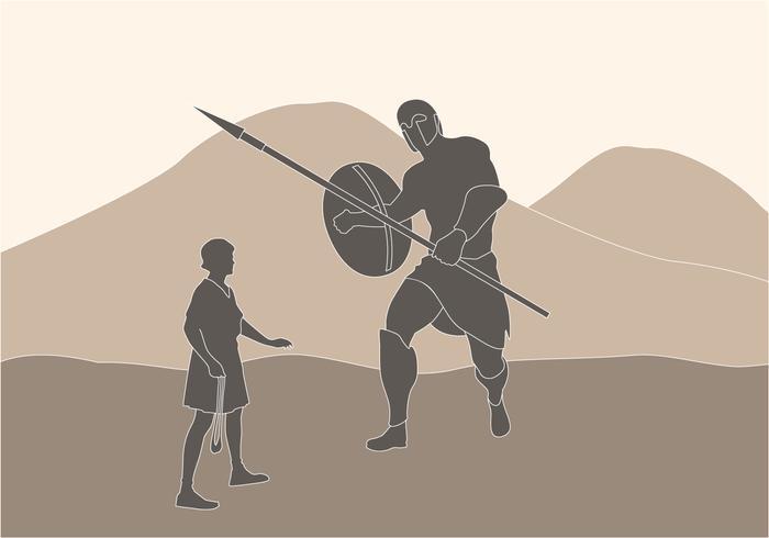 david versus goliath illustration vetor