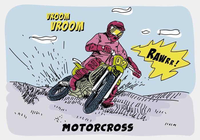 Equitação Offroad Motorcross Comic Hand Drawn Ilustração vetorial vetor