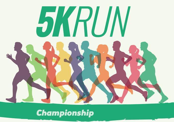 5k run walk race silhueta vetor