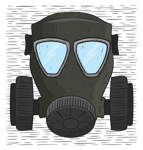 Ilustração desenhada mão da máscara de gás do vetor